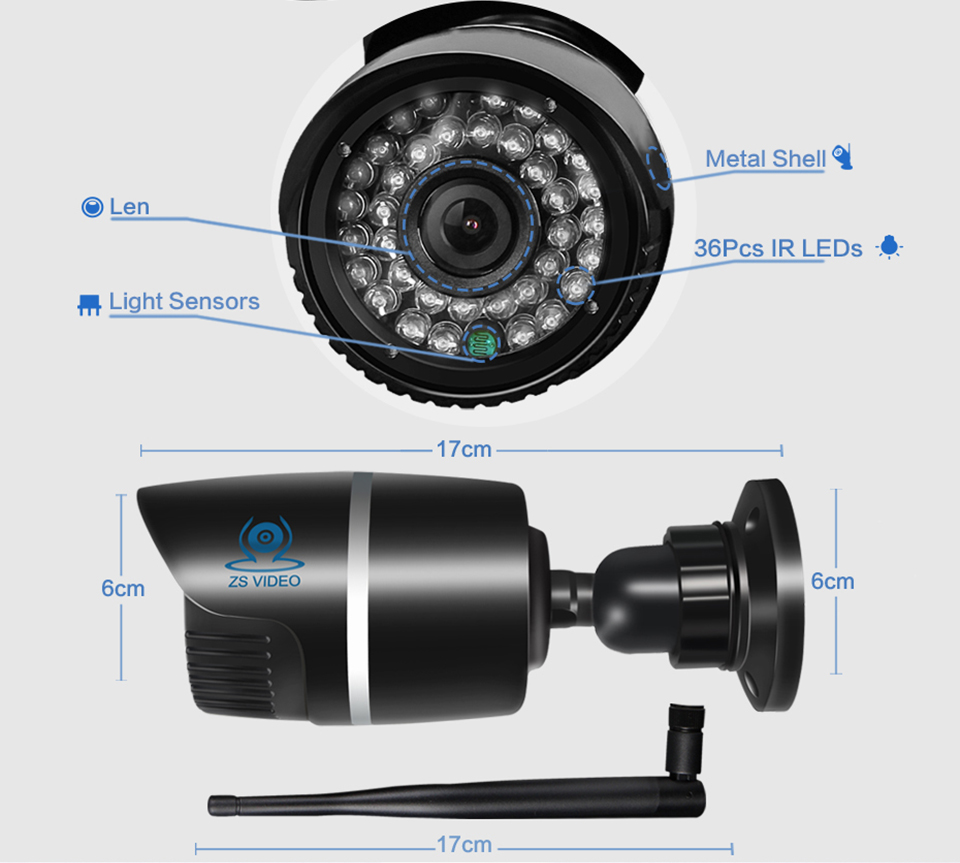 ZSVIDEO Surveillance Cameras Wireless CCTV Monitor IP Camera Alarm System WIFI IP Cameras Waterproof NVR HD Bullet IR Webcam (11)