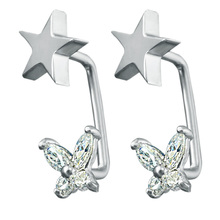 1 Pair High Quality Fashion Jewelry Star Stud Earrings Butterfly Design White Cubic Zircon Stainless Steel Earring For Women(China)