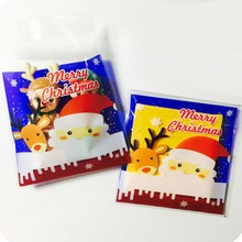 100 pcs/lot Blue Santa Claus adhesive bag cookies diy Gift Bags for Christmas Party Candy Food&Handmade soap Packaging bags -067