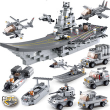 Military 9 In1 Assemble Air Plane carrier Armored car Plane Boat Building Block  Boys Educational Toys Compatible