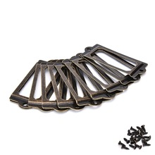 12Pcs/lot Antique Brass Metal Label Pull Frame Handle File Name Card Holder For Furniture Cabinet Drawer Box Case Bin