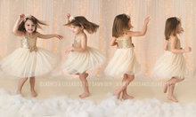 Elegant Gold Sequined Ivory Tulle Dress for Girls Sparkle Dress Girl Sun Dress Tulle Tutu toddler gift
