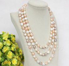 "natural 70"" 8-9mm baroque white pink purple FW pearls necklace(China)"