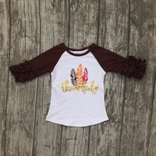 baby girls children thanksgiving raglans baby girls thankful raglans brown sleeve with frather shirts t-shirt clothes kids wear