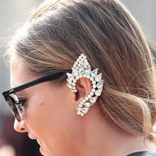 2015 New Fashion Elegant Vintage Punk Gothic Crystal Rhinestone Ear Cuff Wrap Stud Clip Earrings High Quality(China)