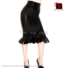 Buy Sexy black long Latex skirt frills Rubber skirt Playsuit Bodycon bottoms XXL plus size QZ-129