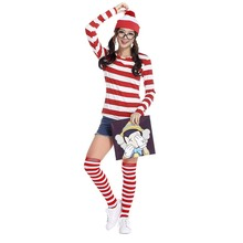 Where's Wally Adult Women Wally Wenda Waldo Book Day Fancy Dress Red Stripes T-shirt Hat Glasses Stock Halloween Costumes