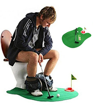 CL Fun Potty Putter Toilet Golf Game Mini Golf Set Toilet Golf Putting Green Novelty Game Toy Gift For Men and Women
