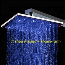 "Uythner 8"" LED Chrome Square Rain Shower Head Top Shower Sprayer + Shower Arm(China)"