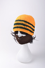 Men's Beard Hat Knitted Winter Beanie Striped Bonnet Touca Gorro Blue Gray Yellow Orange