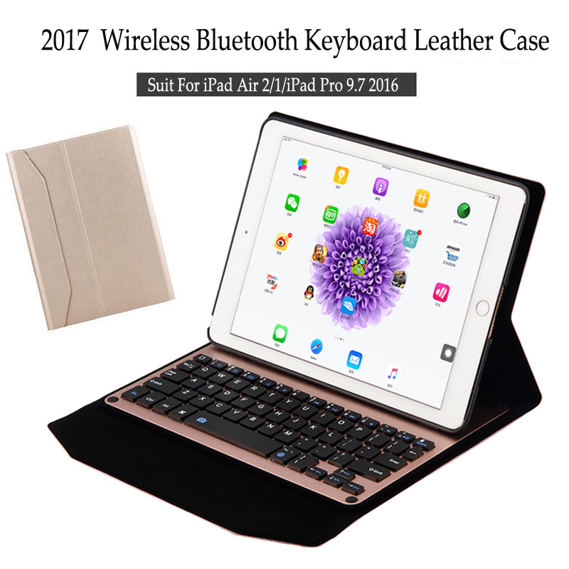 For iPad Air 2 Wireless Bluetooth Keyboard Case For iPad Air 2 Tablet Aluminum Alloy Detachable Flip Stand Cover+Stylus<br>