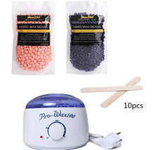 Professional Warmer Wax Heater +10Pcs Wooden Waxing Wax Disposable Sticks+2Bags* No Strip Hair Removal Bean 100g