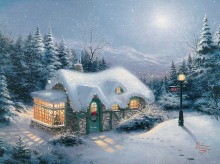 Thomas Kinkade Silent Night Canvas Print Picture Frame For Living Room Art Paintings For Sale Huge Art Canvan Decoration
