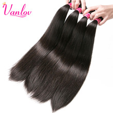 Vanlov Peruvian Straight Human Hair Bundles Jet Black Human Hair Extensions Non Remy Weave Natural Color Can Buy 3 or 4 Bundles(China)