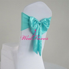 100pcs Tiffany Blue Spandex Banquet Chair Sash Bands With Satin Butterfly Bow Free Tie Satin Chair Sash Ties For Hotel Wedding