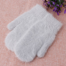 Winter Pink Faux Rabbit Fur Solid Color Women Thickened Gloves Warm Mittens