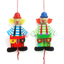 Children Classic Wooden Pull String Puppet Clown Toys Funny Marionette Joint Activity Gifts for Kids Random Styles 1Pc
