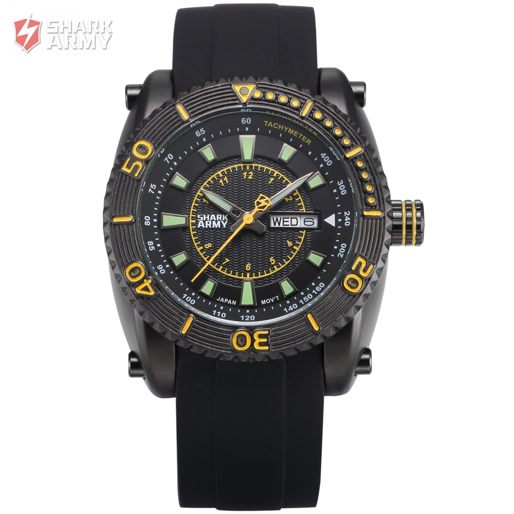 Shark Army Men relogio Stainless Steel Auto Date Display Black Yellow Silicone Rubber Wristwatch Sporting Quartz Watches/SAW159<br>