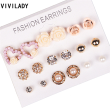 VIVILADY New 9 Pairs/set Flower Rhinestone Stud Earrings Imitation Pearls Heart Ball Brincos Women Summer 2017 Jewelry Gifts