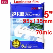 "100PCS/lot Deli 3809 hot pouch laminator film 5""(95x135mm) size 70 mic photo documents PET laminating film pouch film wholesale"
