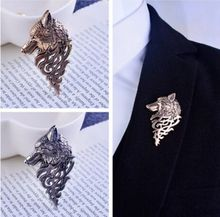 Colors Wolf Totem Brooch Domineering Unique Dog Wolf Head Animals Brooch Badges Collar Clip Pins for Men Suit Accessories
