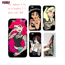 Tattoo girl Phone soft TPU Case Cover for iPhone 5 5s se 6 6s 6splus 7 7plus 8 8plus Phone Case(China)