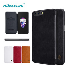 Nillkin Qin Series PU Leather Case For Oneplus 5 A5000 Flip Phone Cover Case for Oneplus 3 3T 5.5 inch with Card Slots