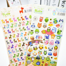 DIY Cute Kawaii Cartoon Owl Giraffe Scrapbook Paper Stickers For Home Decoration Scrapbooking Photo Album Free Shipping 3419(China)