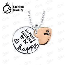 Two Tone Rose Gold Silver Plated BE SO MANY REASON TO BE HAPPY 2 Part Heart Pendant Necklace Women Mother Gift #LN1077(China)