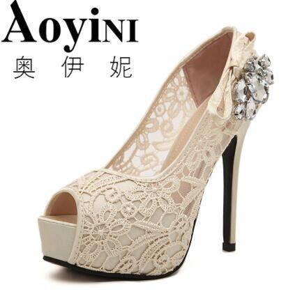 Brand 35-41 2018 Summer Sandalias Laces Sandals 12cm High Heels Women Peep Toe Platform Pumps Wedding Shoes Woman Party Pumps<br>