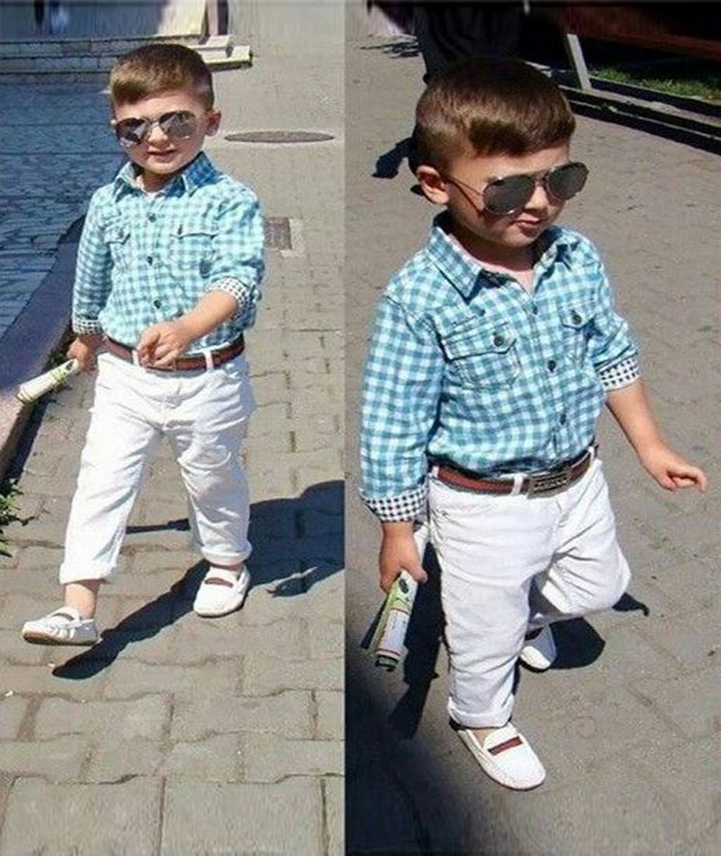 fashion Long sleeve blue Plaid Shirt +white pants+belt 3 pieces gentleman outfits children clothing set kids clothes boys DY108A