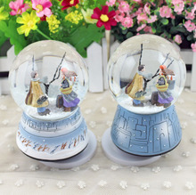 New Rotary Crystal Ball Music Box Take Hat Hand Cranked Music Boxes Crystal Glass Snow Globe Ball Natal Gift