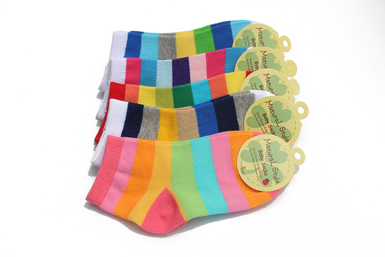 5 Pairs / Lot Fashion Toddler Baby Socks Boy And Girl Rainbow Striped Cotton Socks Kids In tube Socks Children Sock 1-6 Years 2