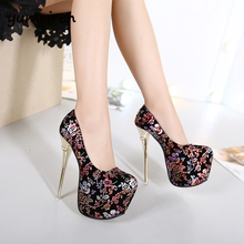 women's shoes with heels wedding shoes 16cm womens heels Platform pumps small size high heel shoes sexy heels flower pumps X38
