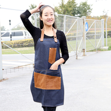 New Fashionable Leather stitching denim apron Anti pollution apron for coffee shop Hairdresser chef Unisex  cowboy work cloths