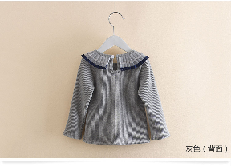 2018 Spring Autumn 100% Cotton White Grey Pink Solid Color Long Sleeve Pleated Turn-Down Collar Neck T Shirt For Girls 10 Years (8)