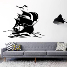 Art design cheap home decoration vinyl sailing boat wall sticker removable PVC house decor cartoon ship decal in shop or bedroom