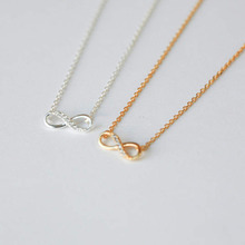 2017 Hot Fashion 8 font necklace for women Plated Silver gold Pendant Neck Chain Girlfriend gift jewelry