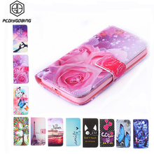 New Wallet Style Rose Flower Tower Pattern Full Cover Flip Painting PU Leather Case For LG LEON 4G LTE C40 H340N H320 C50 H324