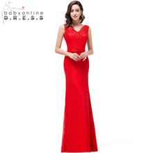 Sexy V-neck Red Mermaid Evening Dresses 2017 Floor Length Lace Evening Gowns Cheap Real Photo Party Dresses robe de soiree