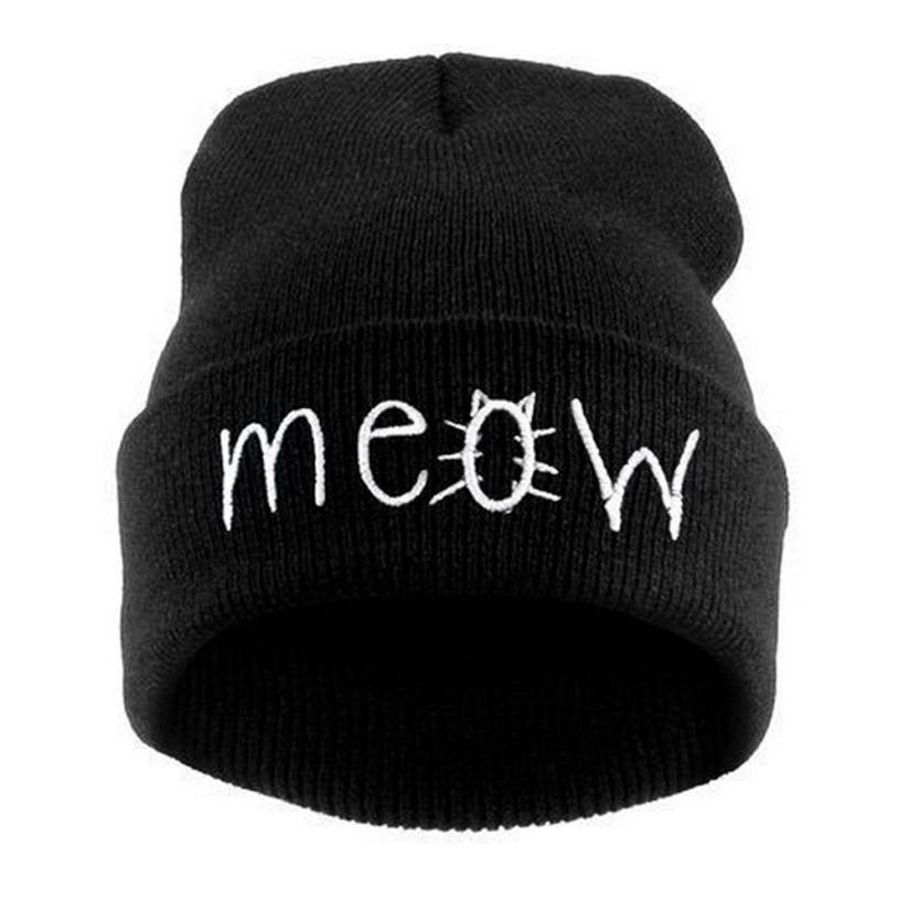 Unisex Winter Knitting Caps Foe Women Men Fashion Design MEOW Beanie Hat Snapback caps Hip hop Men And Women beanie casquetteÎäåæäà è àêñåññóàðû<br><br><br>Aliexpress