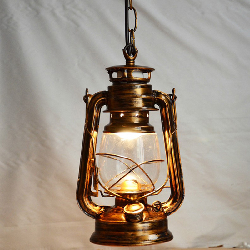 Vintage Retro Lantern Kerosene Pendant Lamp E27 Lights Loft Restaurant Master Bedroom Dining Living Room