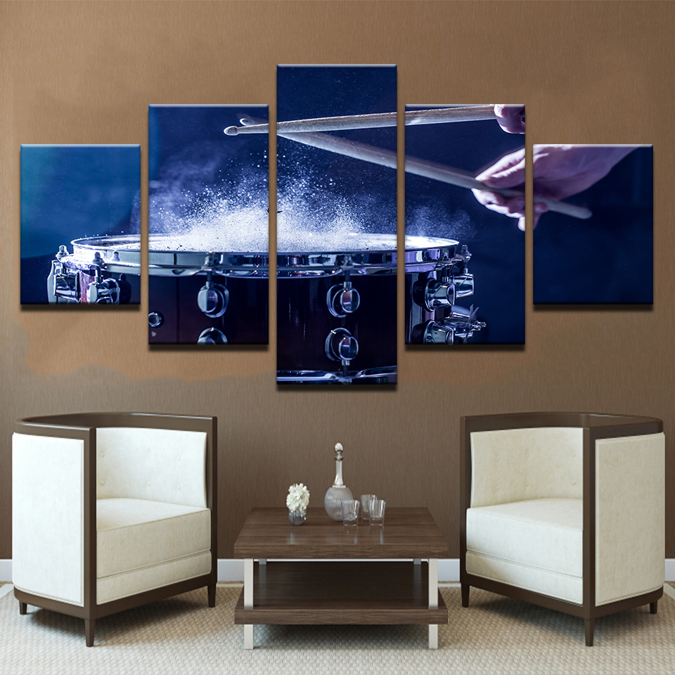 Wall-Art-Canvas-Paintings-Modular-Home-Decor-HD-Prints-5-Pieces-Drums-Pictures-Musical-Instruments-Posters