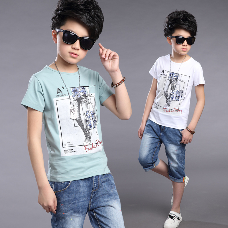 Korean Childrens Garment Leisure Time Suit Summer New Pattern Catamite Leisure Time Solid Color Pants 2 Pieces Kids Clothing<br>