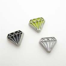 Hot selling 30pcs/lot diamond model blessing floating charm living glass floating memory lockets diy jewelry charms