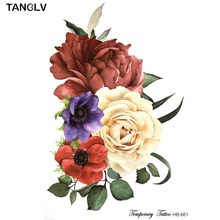 TANGLV Brand New design temporary flower tattoos big temporary tattoos fake back peony pattern tattoo 21*15cm