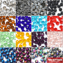 30Pcs/Lot  8mm Ball Faceted Glass Crystal Spacer Beads For Jewelry Making 17Colors In Total Free Shipping
