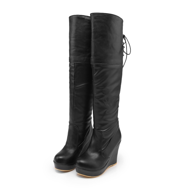 Women Boots Height Increasing High Heels 10CM Shoes Slope With Long-barreled High-heeled Knee Boots Waterproof Fashion Style<br><br>Aliexpress