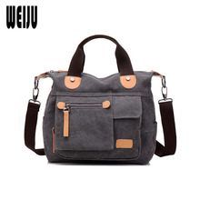 WEIJU Woman Bag 2017 New Canvas Handbag Casual Women Shoulder Messenger Bags Simple Retro Ladies Hand Bags Sac A Main(China)