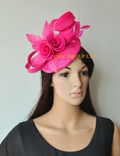 New Arrival.Fuchsia hot pink sinamay Fascinator with feather flower for Royal Ascot Derby Kentucky Melbourne cup.(China)